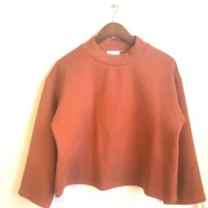 Leith brown spice mock neck cropped sweater top